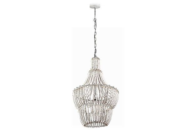 Low Voltage Glam Less Glitzy But Still Fabulous This Exquisite Tiered Chandelier Is Inspired By The Drama And Sw Beaded Chandelier Home Accents Natural Beads