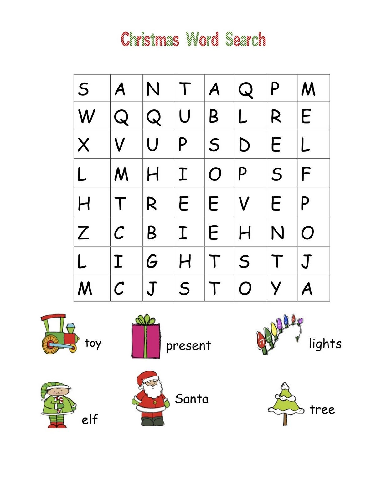 easy for kids word search christmas