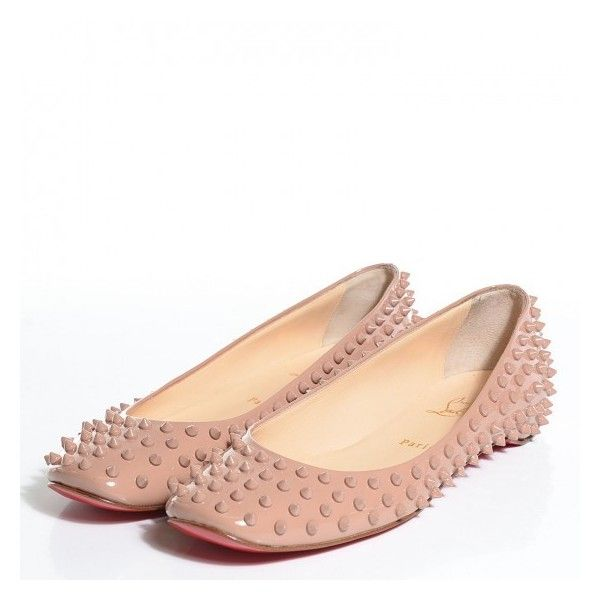 fe002f8f6d0 CHRISTIAN LOUBOUTIN Patent Gozul Spikes Flats 41 Nude ❤ liked on ...