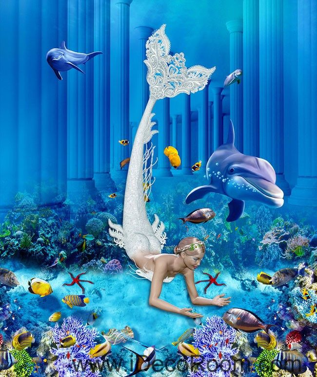 Mermaid Dophin Coral Fish Seabed 00073 Floor Decals 3D Wallpaper Wall Mural Stickers Print Art Bathroom Decor Living Room Kitchen Waterproof Business Home