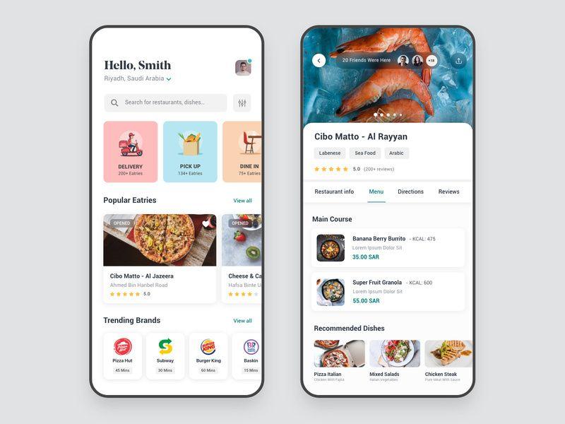 Restaurant App 웹디자인, 앱, 웹사이트 레이아웃