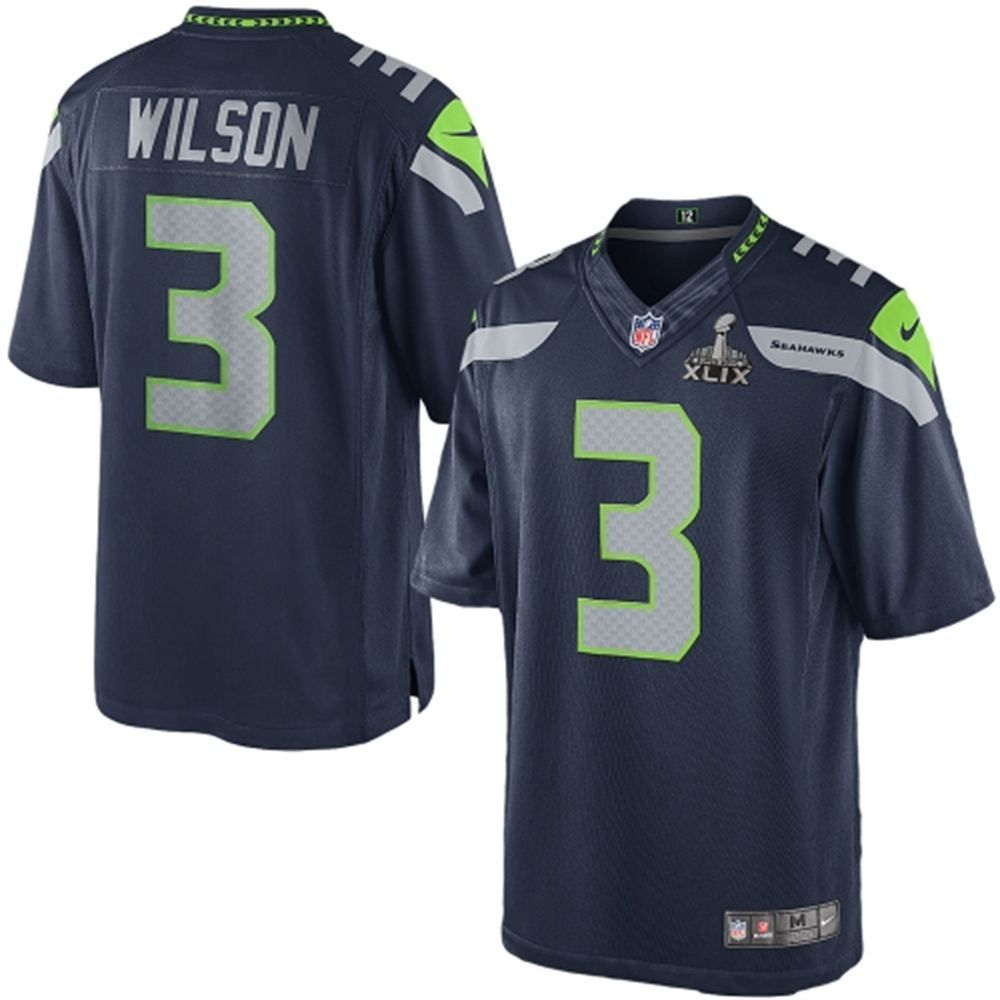 Mens Seattle Seahawks Russell Wilson Nike College Navy Super Bowl XLIX Limited Jersey