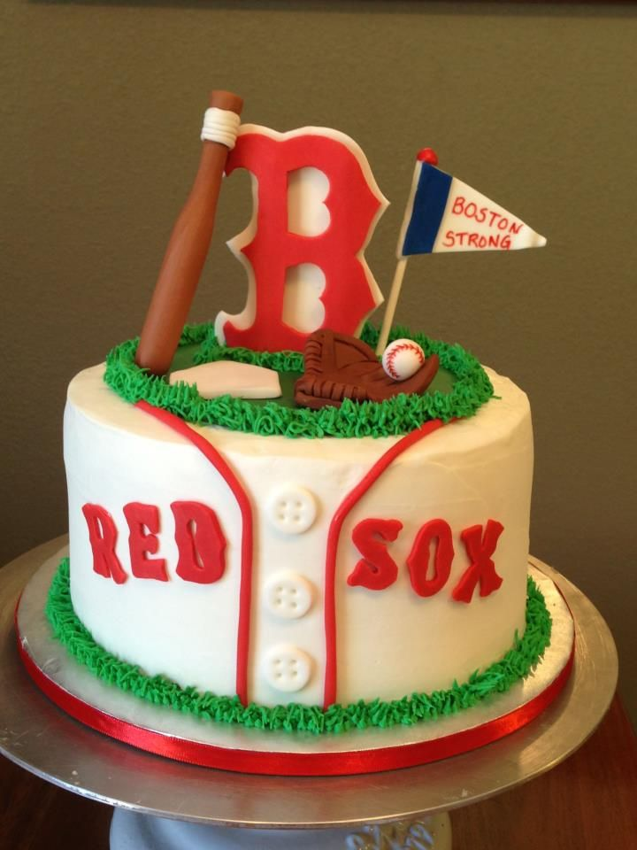 Red Sox cake I want this for my birthday Lets Go Red Sox