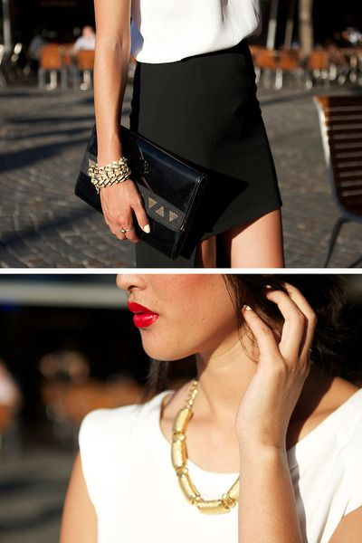 love the red lips and simple, but classic outfit