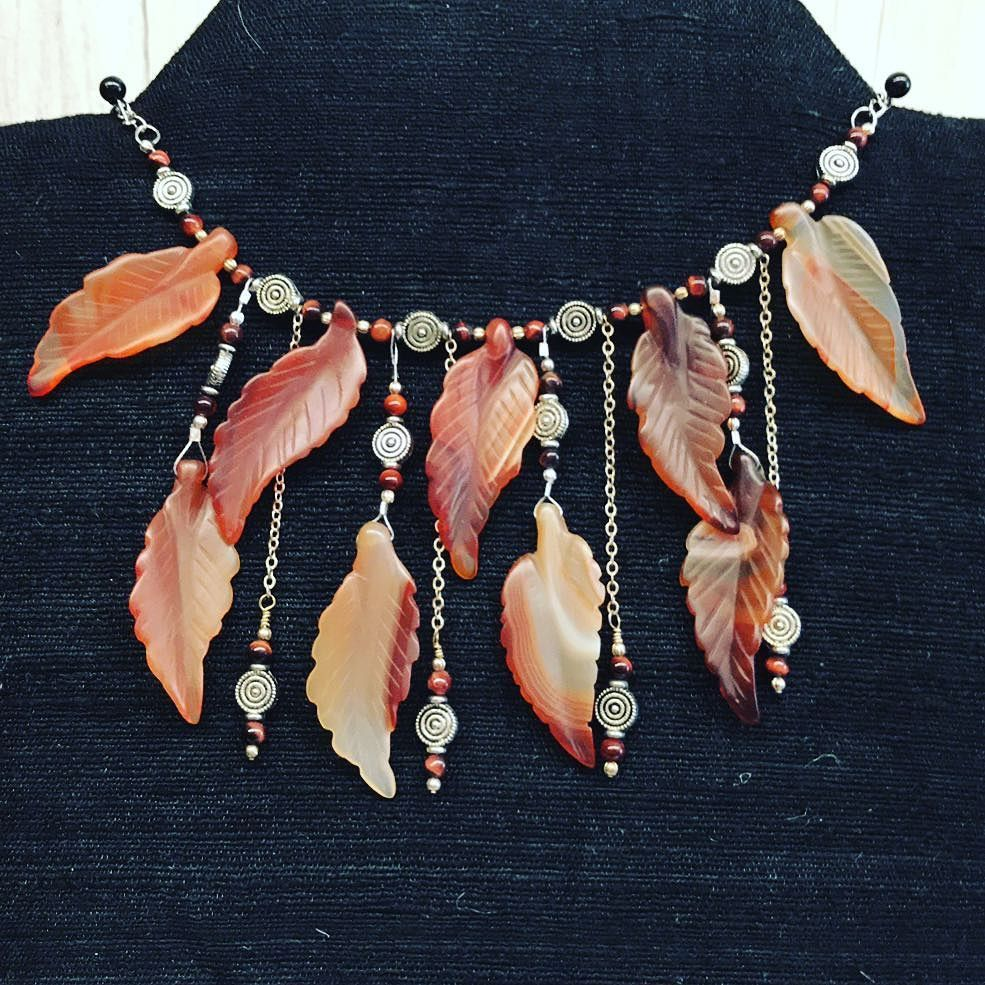 I reworked this from a piece that a customer had purchased previously. She no longer wanted these gorgeous carnelian leaves to wrap completely around her neck so I moved half down under. She loves this #reincarnation even more than the original. I always want those who purchase from me to truly love their pieces forever but I know tastes and styles change. I stand behind my items FOR LIFE. If you ever break bend kink or just no longer love your #jewelry from #dhd just send it back and I will…