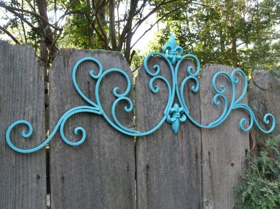 Aqua Wall Decor / Wrought Iron /Fleur De Lis Wall Decor