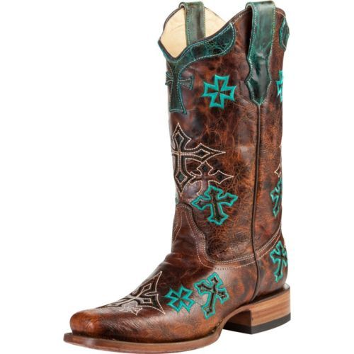 Women's Corral Boots Whiskey Brown Turquoise 3 Cross Design Square Toe R1028 | eBay