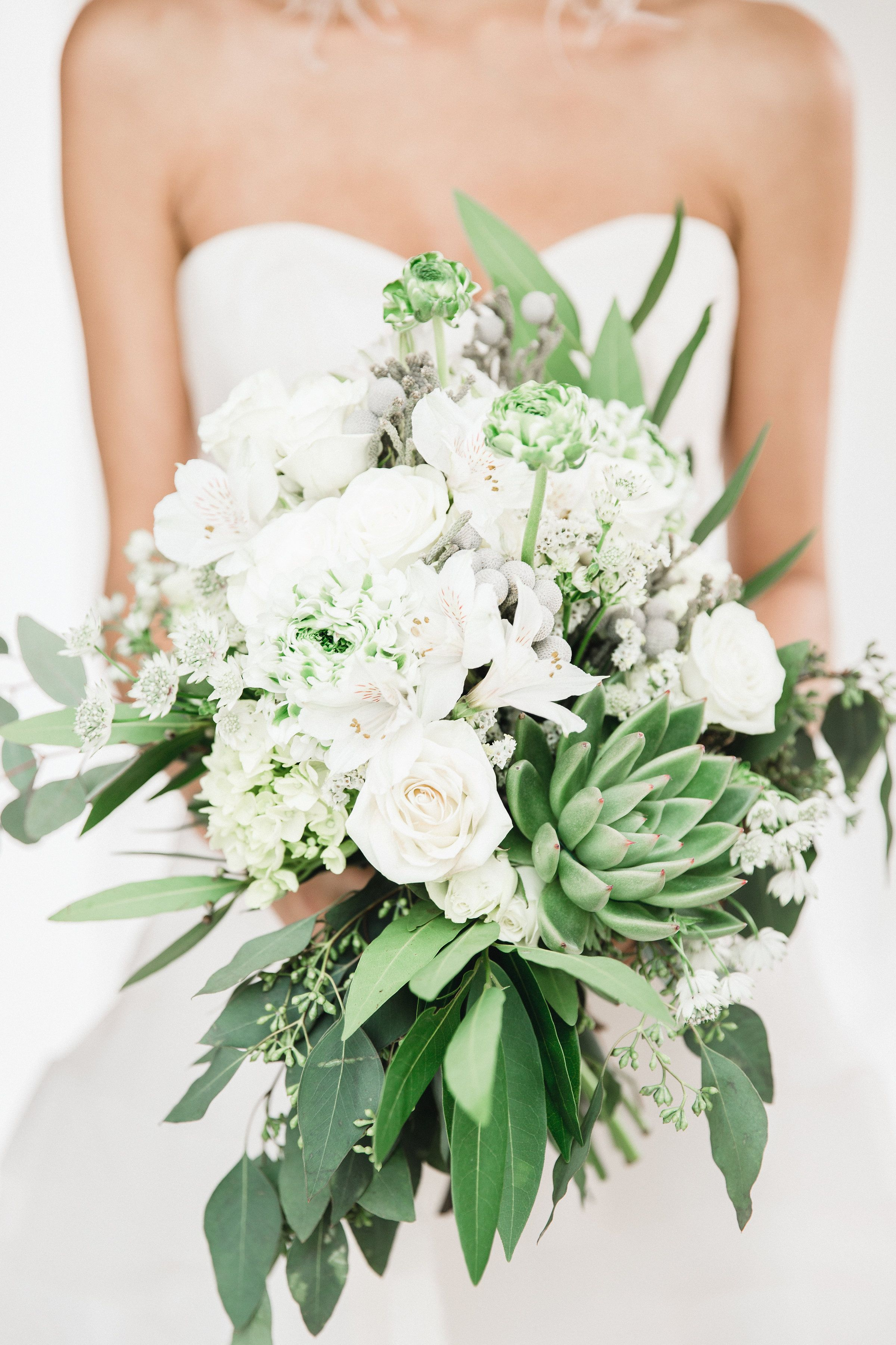 Brooklyn Bride With Winter White And Green Wedding Bouquet Silver