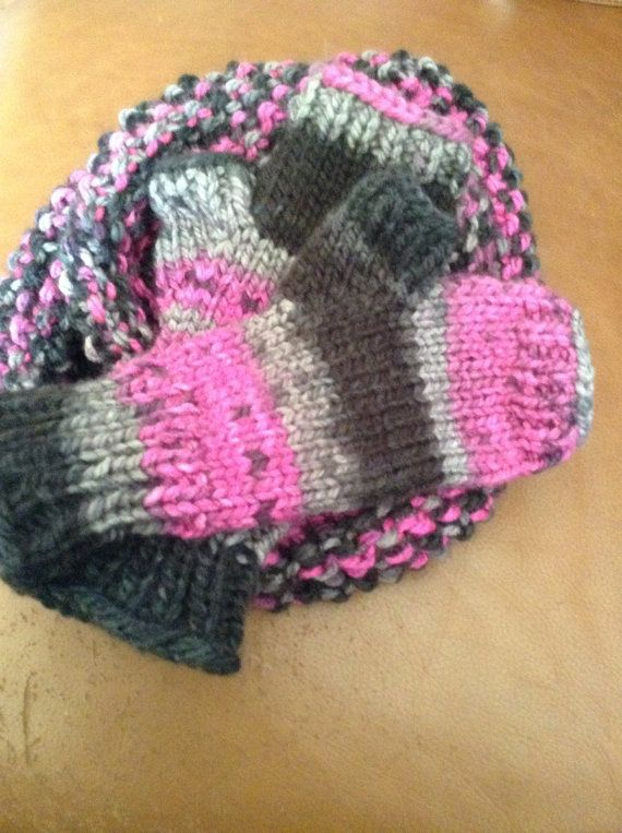 Infinity scarf and fingerless mitten set on Etsy, $60.00