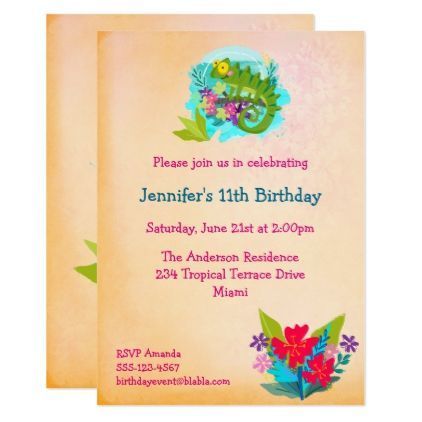 Tropical Lizard With Flowers Luau Birthday Invite