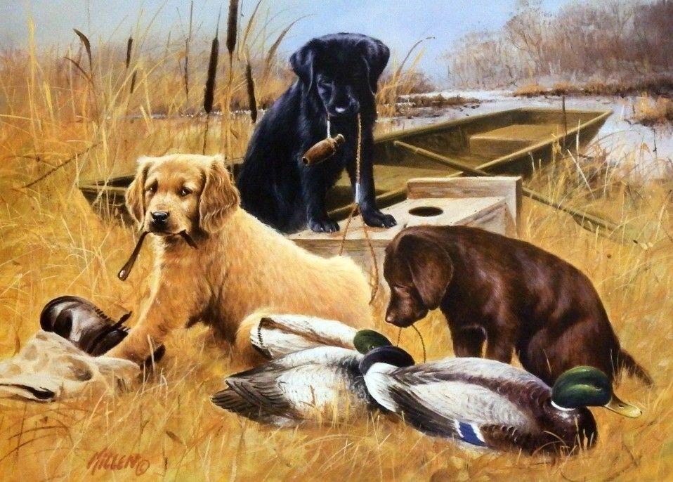 James Killen Marsh Buddies Duck Hunting Puppies Print Duck