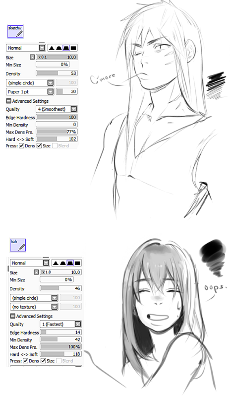 brush settings | Tumblr | Paint tool brushes | Sai brushes, Paint