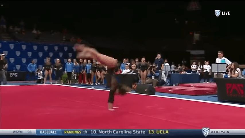 Gymnast Lands Double Layout, Then Moonwalks On The Floor