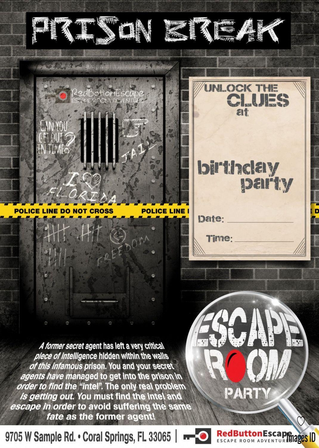 Escape Room Birthday Invitation Template  Invitation Card