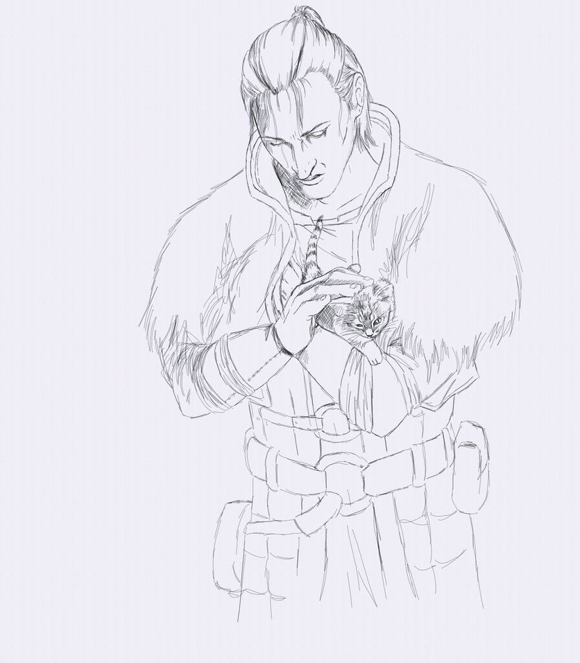 Anders With Kitten Sketch By Arkadyrose On Deviantart Sketches Dragon Age 2 Dragon Age