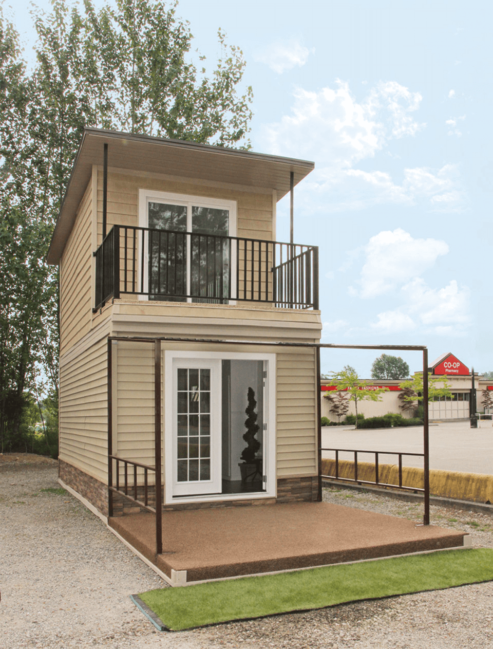 Attractive Two Eagle 2 Story Tiny House Exterior Design Ideas