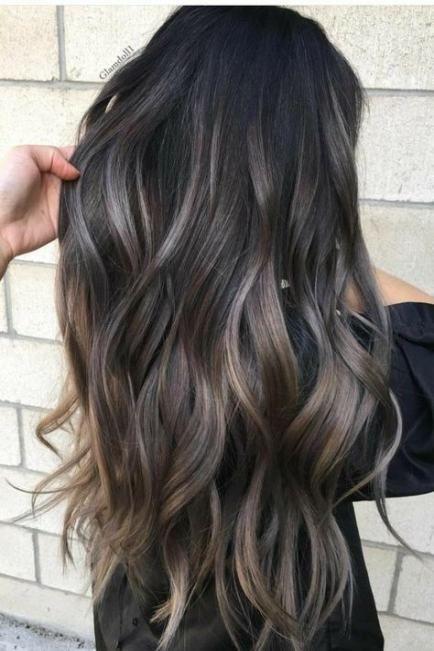 Trendy hair highlights gray black Ideas -   17 black hair Highlights ideas