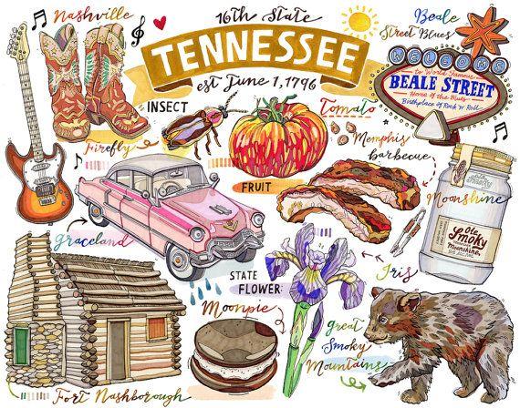 Tennessee Print Illustration State Symbols Nashville Smoky