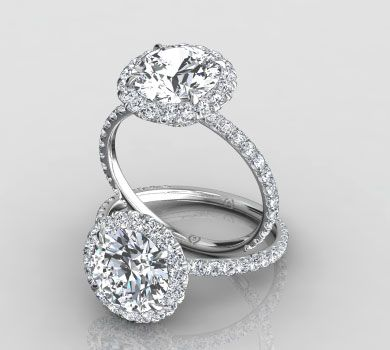 1837b63df9fb3 Pave Diamond Halo Ring , Pave Engagement Rings, Pave Ring   Eternity ...