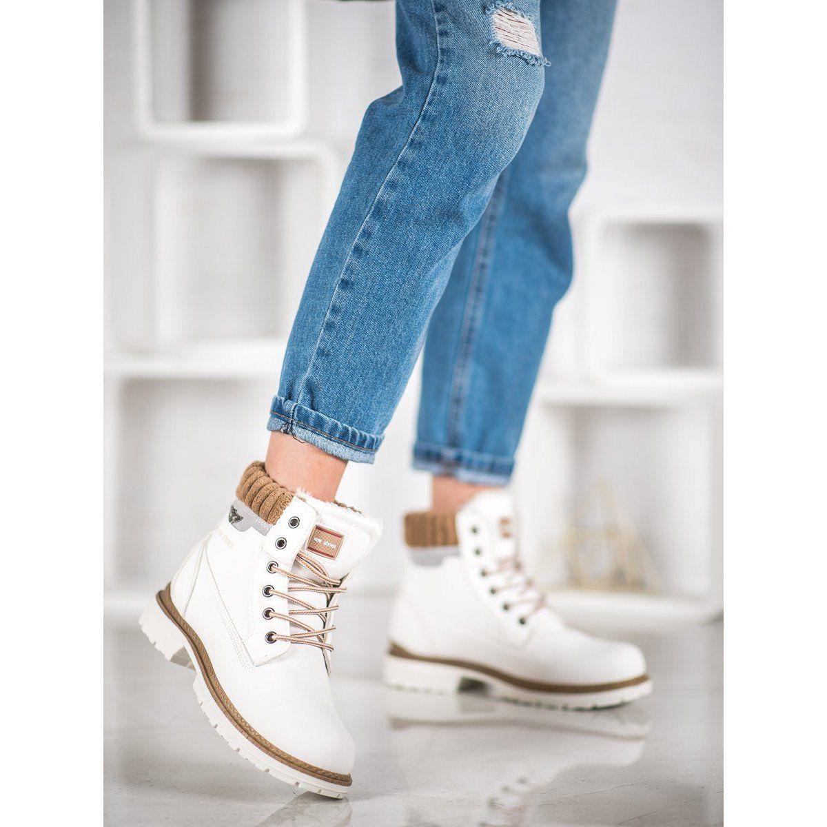 Shelovet Biale Trapery Wedge Sneaker Sneakers High Top Sneakers