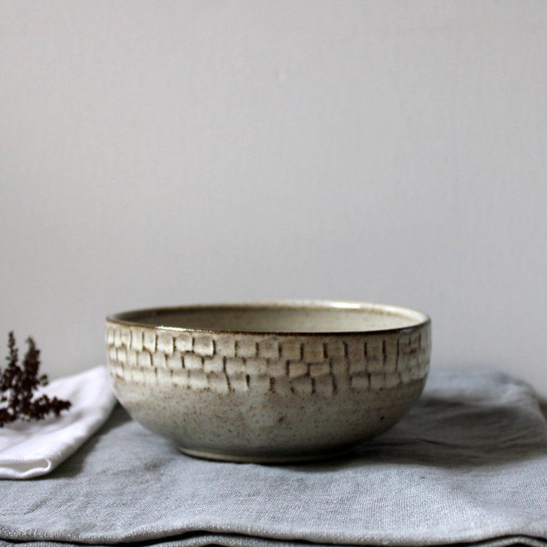 Rustic Pottery Bowl Hand Crafted Pottery Faceted Ceramic Bowl Stoneware Breakfast Bowl Rustic Pottery Pottery Bowls Ceramic Bowls