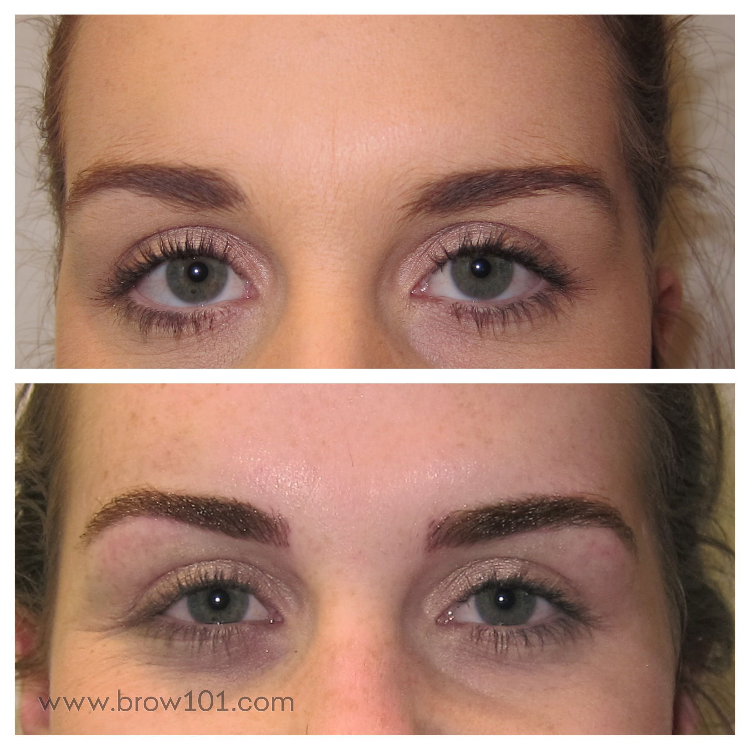 This is a combination of brow shaping and microblade tattooing ...
