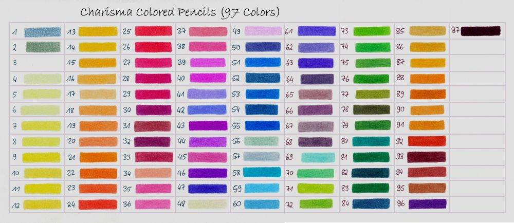 Color Chart Of The Koh I Noor Polycolor Colored Pencils 72 The