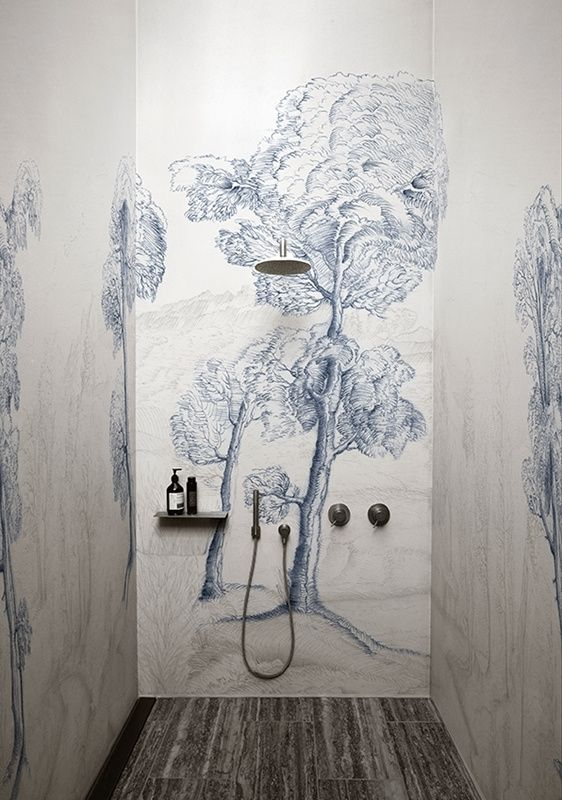 Wall & Deco INNER FOREST Badkamer behang, Muur deco, Behang