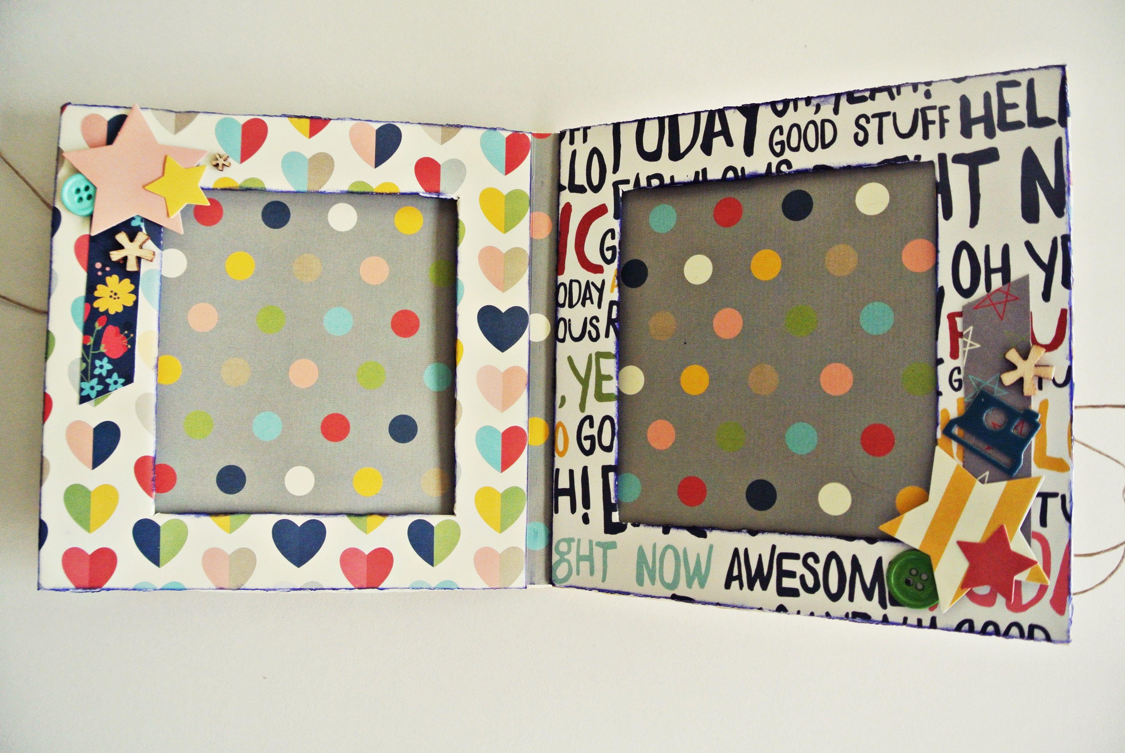 Porta fotos infantil hello stars hecho con cartonaje y scrapbooking manualidades pinterest - Decoracion de album de fotos ...