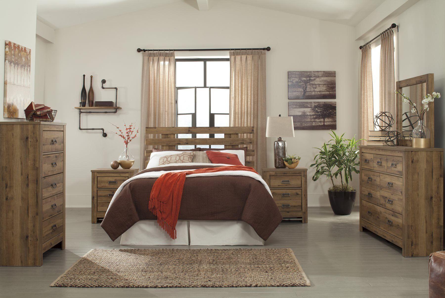 Ashley Cinrey 6pc Bedroom Set E King Cal King Panel Headboard Dresser Mirror Two Night