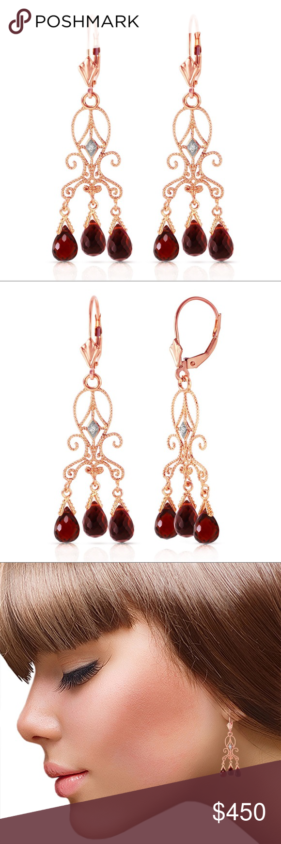 Spotted while shopping on Poshmark 14K GOLD CHANDELIERS DIAMONDS EARRING GARNETS Gold Products