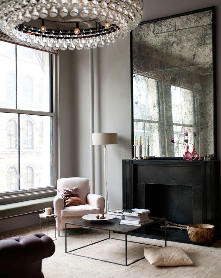 Smoky Mirror Over The Fireplace Interior House Interior Interior Design