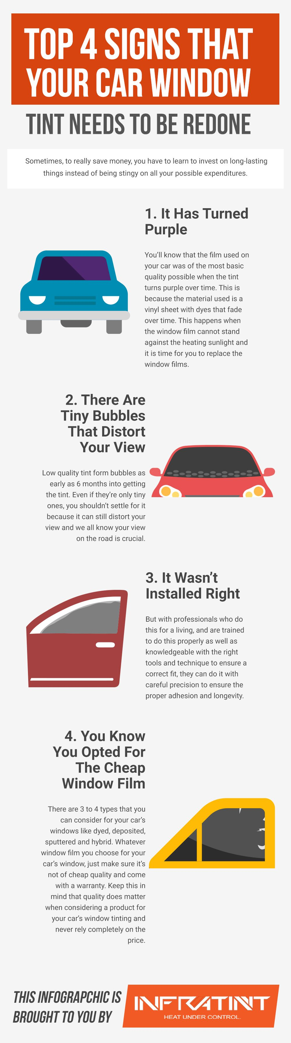 Top 4 Signs That Your Car Window Tint Needs To Be Redone Window Tint Film Tinted Windows Tints