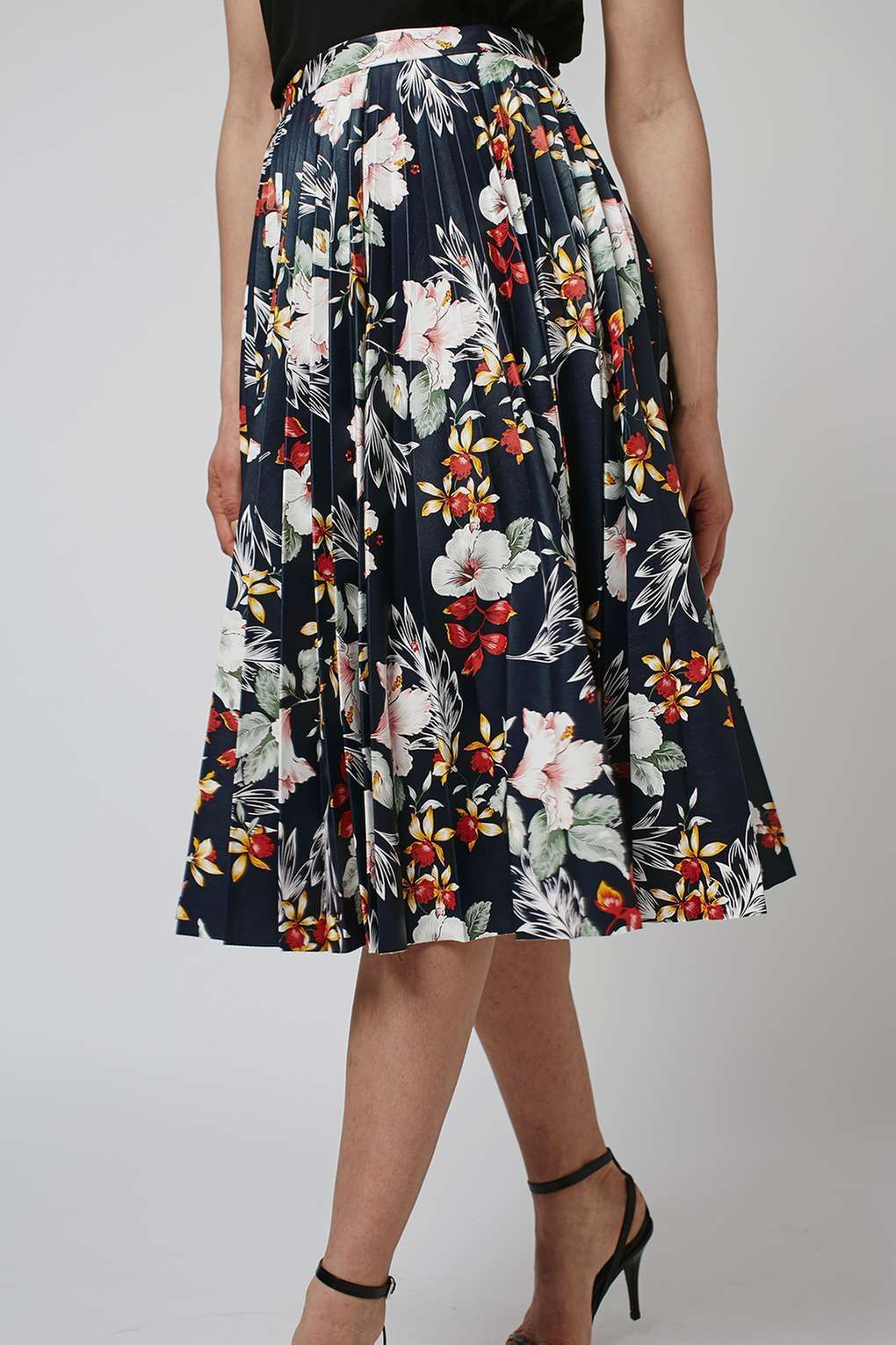 Floral Print PU Pleated Skirt - New In Fashion - New In | Floral ...