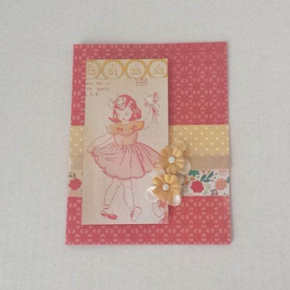 Pink Girl Vintage Retro Handmade Card Valentine Birthday Blank