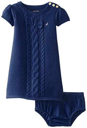 Photo of Nautica Baby Girls' Cable Bow Sweater Dress