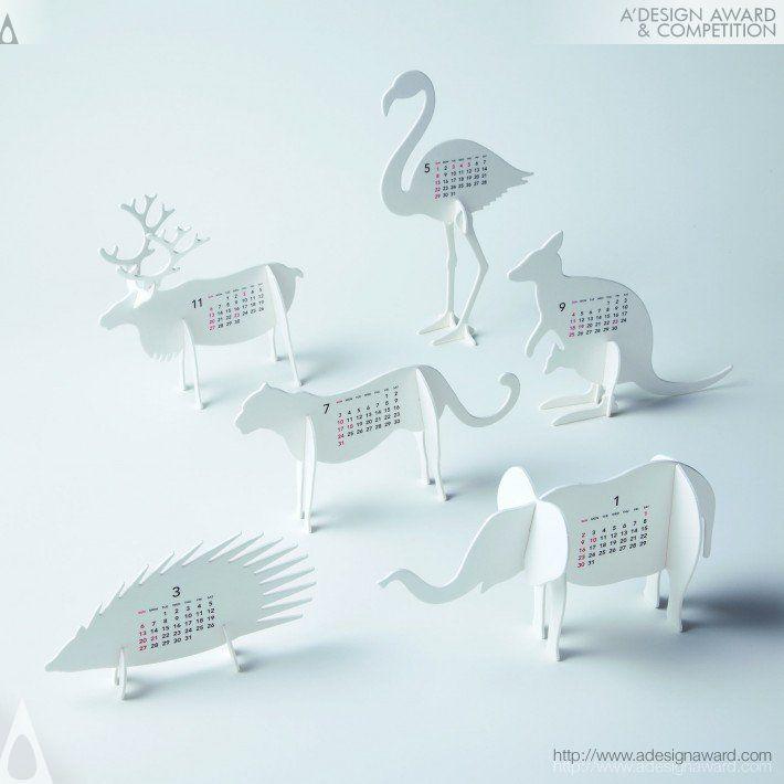 Cool paper animal calendars by Katsumi Tamura