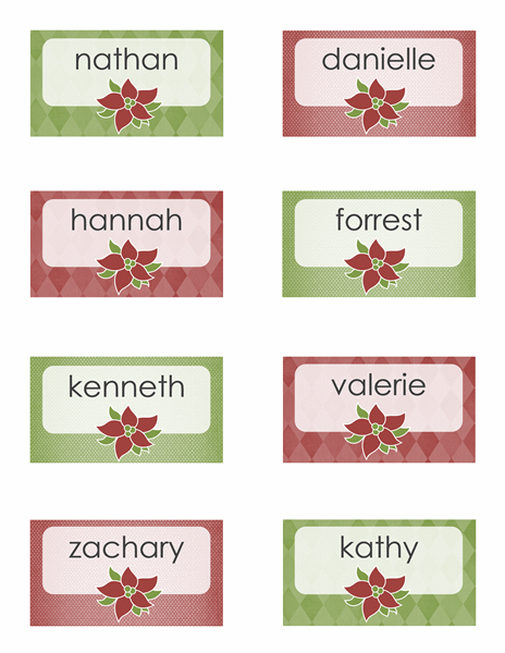 Poinsettia Place Cards Holiday Place Cards Printable Place Cards Christmas Place Cards