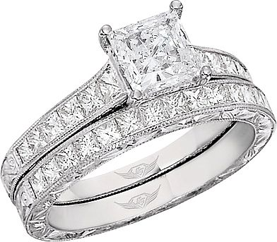Nice FlyerFit Princess Cut Channel Set Vintage Engagement Ring w Hand Engraved Scrolling This beautiful