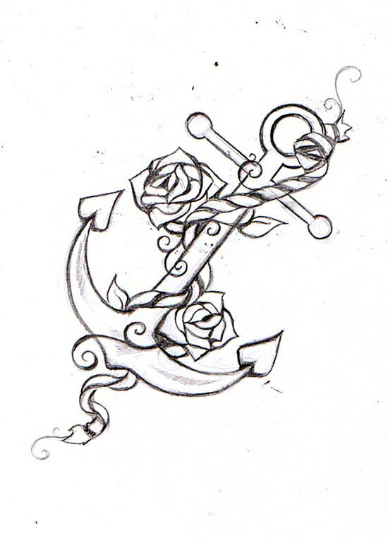 Anchor and Roses Tattoo found on awesometattoophotos.blogspot.com