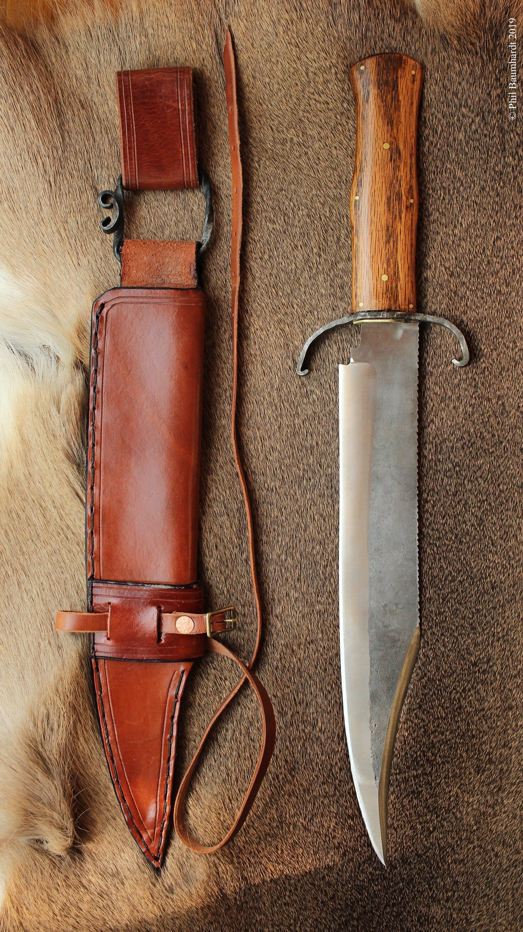 Blade Catcher Bowie Knife Oak Hand Forged Guard Leather Sheath 1095 High Carbon Steel With Sharpened False Edge Made In Bowie Knife Knife Leather Sheath
