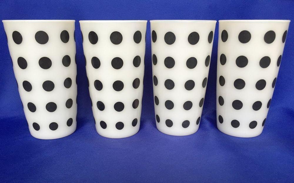Vtg Hazel Atlas Black Polka Dot Milk Gl Gles Set Of 4 Drinking Tumblers Hazelatlas
