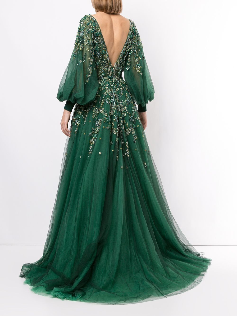 Saiid Kobeisy Long Sleeve Flared Dress Farfetch Green Formal Dresses Fairytale Dress Fantasy Dress [ 1334 x 1000 Pixel ]
