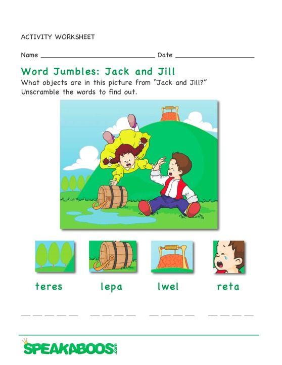 Word Jumble Jack And Jill Speakaboos Worksheets Education Learning Kids Early Learning Jack And Jill Nursery Rhymes