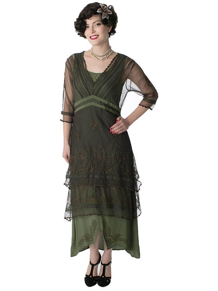 Embroidered Antique Bronze Moss Green Titanic Dress