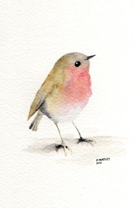Little Red Robin Original Watercolour By Wildsunart On Etsy