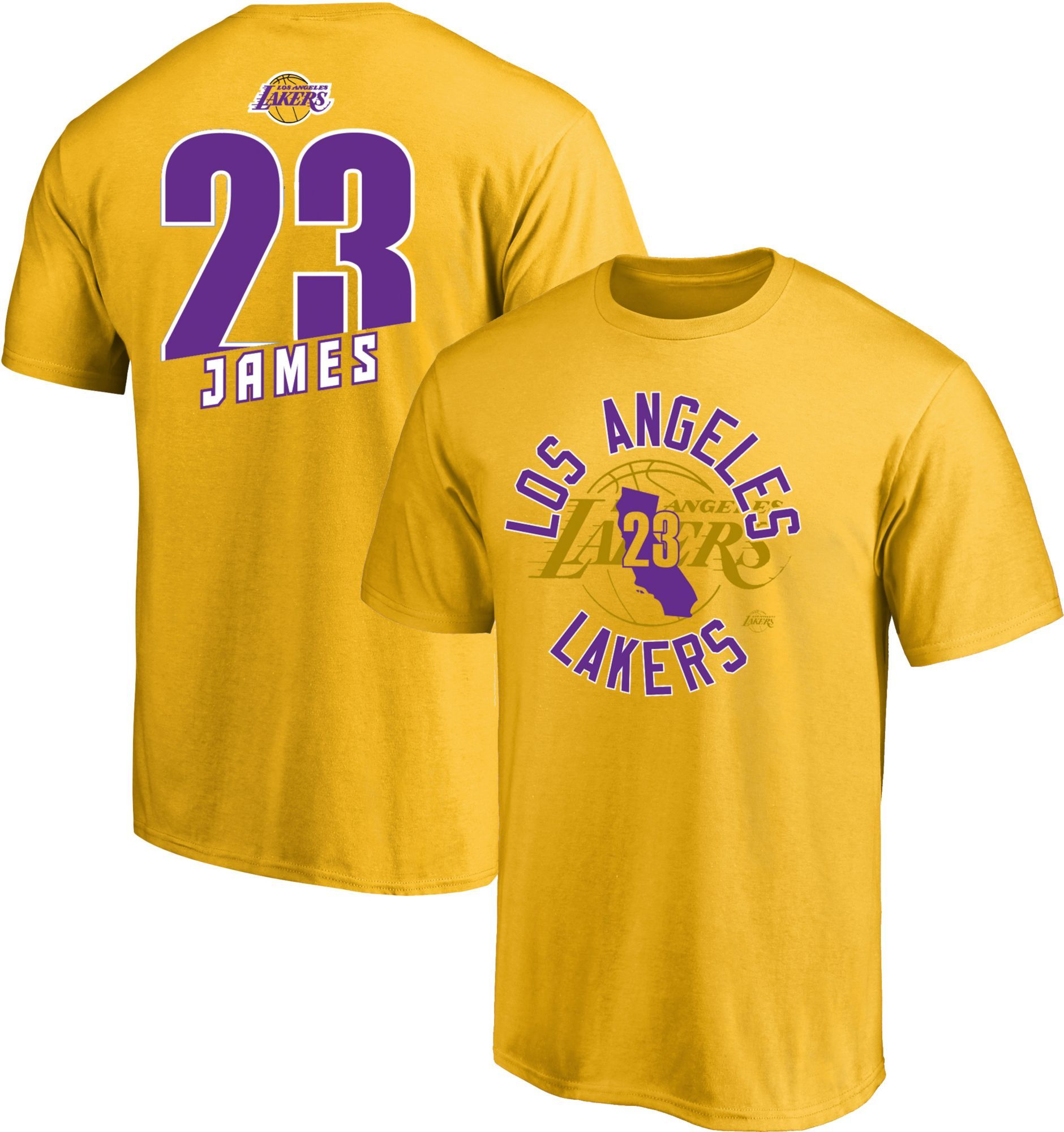 4dd8253bb4 Majestic Men's Los Angeles Lakers LeBron James #23 Gold T-Shirt, Yellow