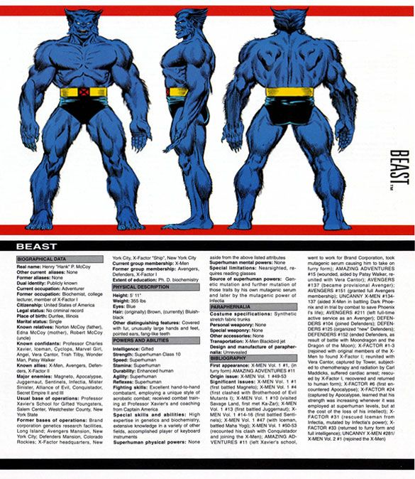 The Official Handbook Of The Marvel Universe Master Edition Beast Retro Comic Art Superhero Comic Marvel And Dc Characters