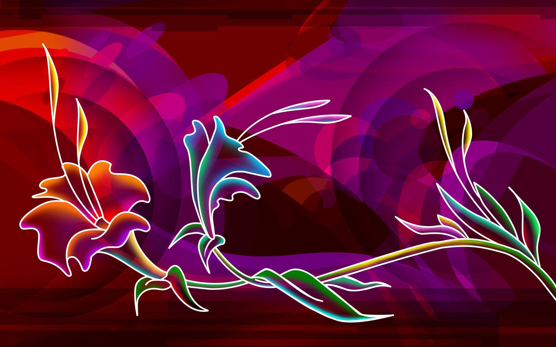 Flower Type Beautiful Animation Flower Purple Wallpaper