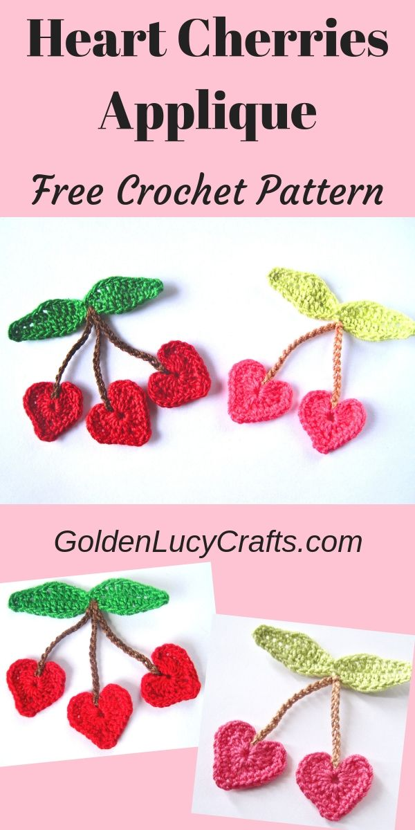 Crochet cherries, heart cherries applique #crochetapplicates